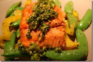 Salmon with Dill-Pistachio Pistou