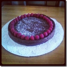 Small Flourless Chocolate Cake with Raspberries