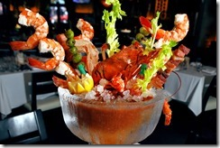 Bloody Mary Soup with Crab, Bacon and Shrimp