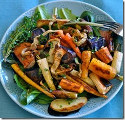Roasted Veggies on Mixed Greens
